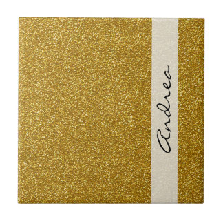 Your Name - Shiny Glitter, Glitter Glow - Gold Small Square Tile
