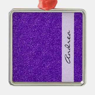 Your Name - Shiny Glitter, Glitter Glow - Purple Christmas Ornament