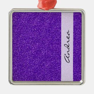 Your Name - Shiny Glitter, Glitter Glow - Purple Silver-Colored Square Decoration