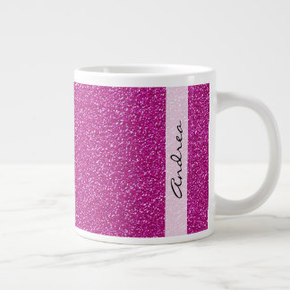 Your Name - Sparkling Glitter Glow - Pink Giant Coffee Mug