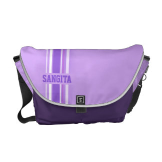 """your name"" sporty purple hues girls stripe bag messenger bags"