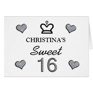 Your Name Sweet Sixteen In Diamonds Greeting Card