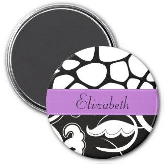 Your Name - Swirls Giraffe Print - Black Purple Magnets