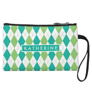 Your Name | Teal Green Argyle Wristlet Clutch