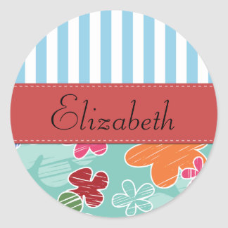 Your Name - Tropical Flowers - Pink Green Blue Round Sticker