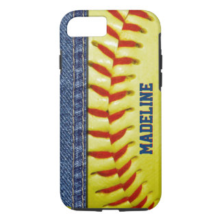 Your Name Yellow Softball Red Stitch Pattern iPhone 7 Case