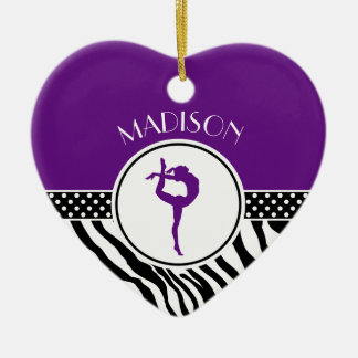 Your Name Zebra Print Gymnastics in Purple Christmas Ornament