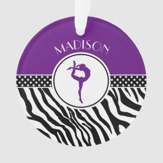 Your Name Zebra Print Gymnastics in Purple Ornament