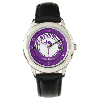 Your Name Zebra Print Gymnastics in Purple Watch