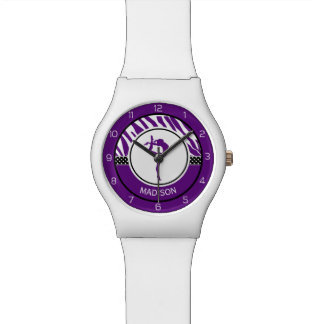 Your Name Zebra Print Gymnastics in Purple Wristwatches