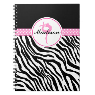 Your Name Zebra Print Gymnastics with Pink Details Notebook