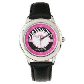 Your Name Zebra Print Gymnastics with Pink Details Watch