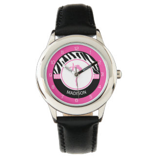 Your Name Zebra Print Gymnastics with Pink Details Wrist Watches