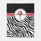 Your Name Zebra Print Gymnastics with Red Details Fleece Blanket