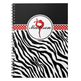 Your Name Zebra Print Gymnastics with Red Details Notebook