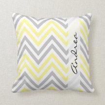 Your Name - Zigzag (Chevron) - Yellow Grey White
