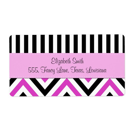 Your Name - Zigzag Pattern, Chevron - Black Pink Shipping Label