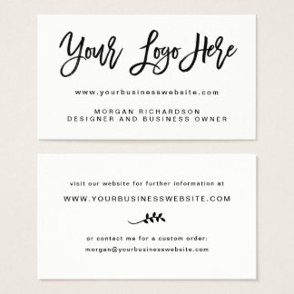 Your Own Logo | Black and White Modern Minimalist Business Card