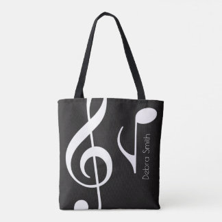 your own music notes on black tote bag