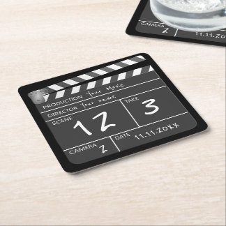 Your Own Personalized Custom Movie Clapperboard Square Paper Coaster