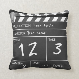 Your Own Personalized Custom Movie Clapperboard Throw Pillow