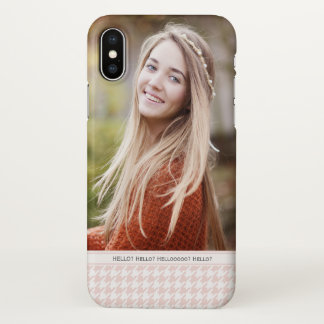 Your Own Photo Blush Pink Houndstooth Personalized iPhone X Case