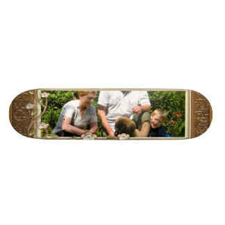 Your own photo in a Golden Flowers Frame - Skateboard