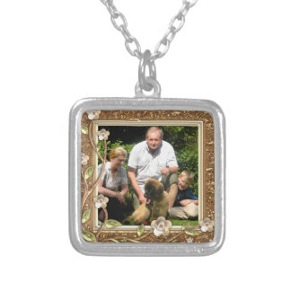 Your own photo in a Golden Flowers Frame! - Square Pendant Necklace