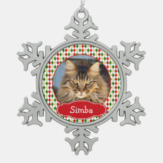 Your Pet Christmas Harlequin Personalized Pewter Snowflake Decoration