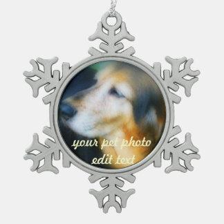 Your pet Photo christmas snow flake Pewter Snowflake Decoration