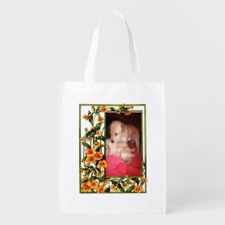 Your Pet Photo Floral Frame Template Reusable Bag Reusable Grocery Bags