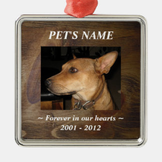 Your Pet Photo on Pretty Wood Look Background Silver-Colored Square Decoration