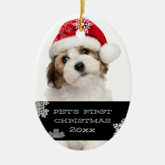 Your Pet's First Christmas Photo Ornament | Black