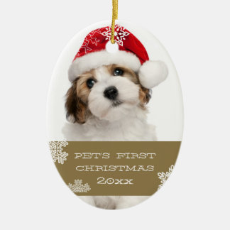 Your Pet's First Christmas Photo Ornament | Gold
