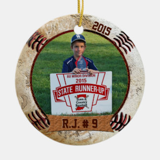 Your PHOTO and NAME on Cool Baseball Ornament