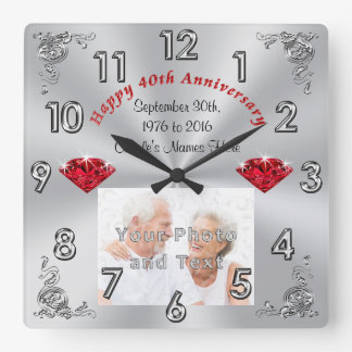 Your PHOTO and TEXT 40th Anniversary Gifts Wallclock