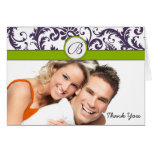 Your Photo Apple Green & Lapis Damask Thank You