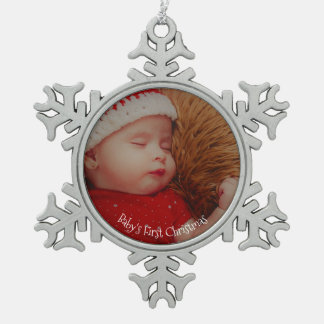 Your Photo Baby's First Christmas Keepsake Snowflake Pewter Christmas Ornament