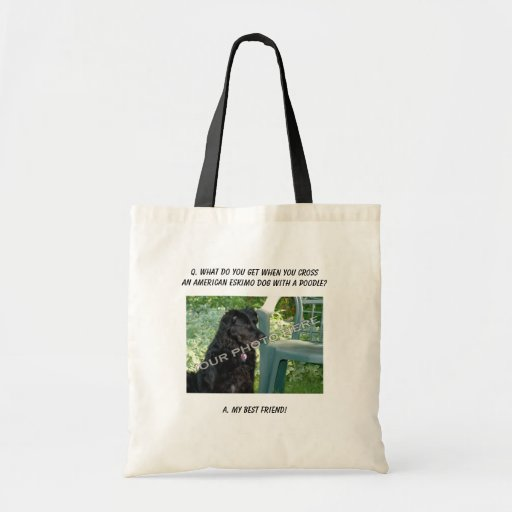 Your Photo! Best Friend American Eskimo Dog Mix Tote Bags
