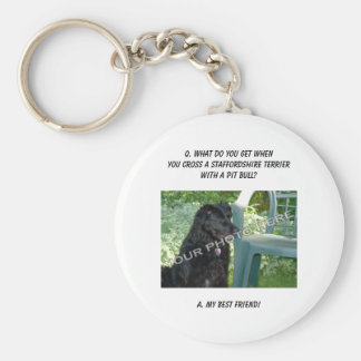 Your Photo! Best Friend Staffordshire Terrier Mix Basic Round Button Key Ring