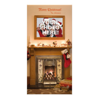 Your Photo - Christmas Stocking and Fireplace Photo Card