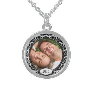 Your Photo Damask Wedding Anniversary Necklace