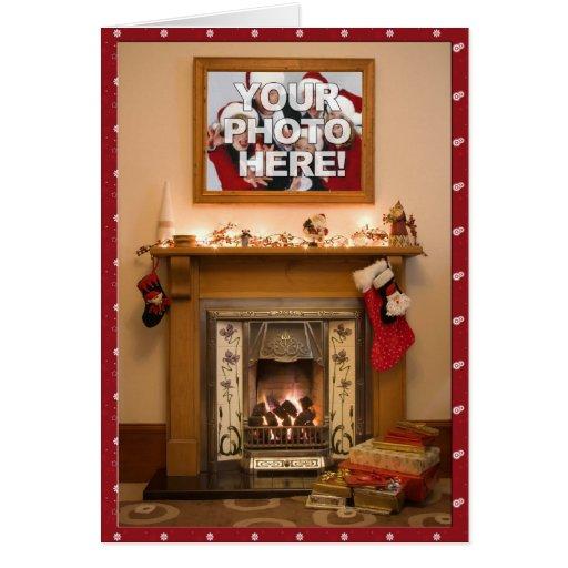 Your Photo- Elegant Christmas stocking & Fireplace Cards