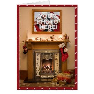 Your Photo- Elegant Christmas stocking & Fireplace Greeting Card
