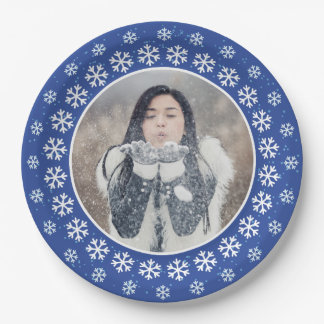 YOUR PHOTO in a Snowflake Frame paper plates