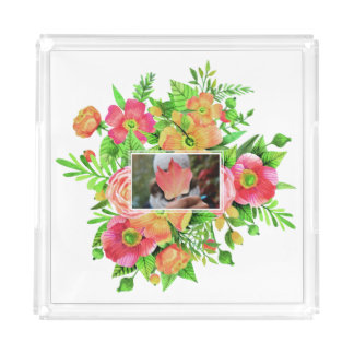 Your Photo in Flower Frame serving trays