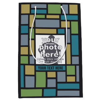 YOUR PHOTO in Geometric Pattern custom gift bag
