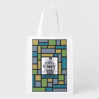 YOUR PHOTO in Geometric Pattern reusable bag