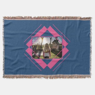 YOUR PHOTO in Geometric Pattern throw blanket