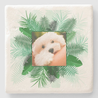 Your Photo in Palm Leaf Frame stone coasters